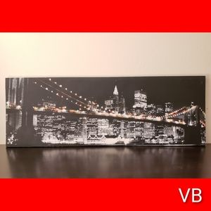 New York Skyline At Night Canvas Picture.